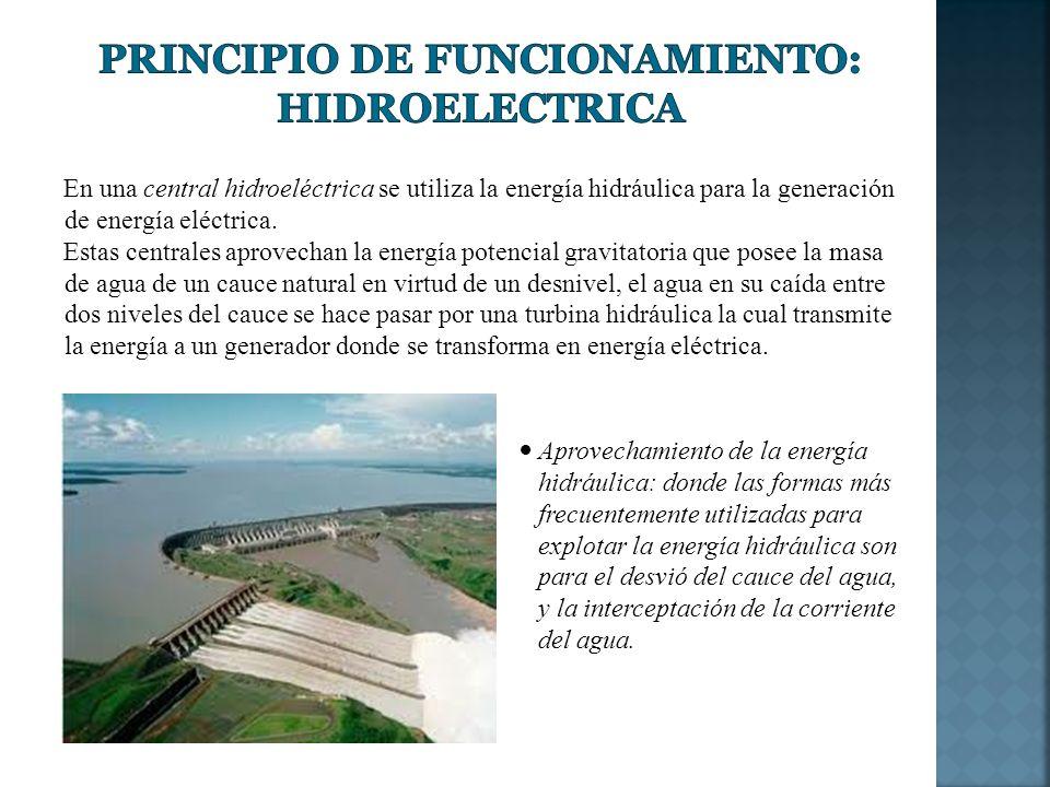Principio de Funcionamiento: Hidroelectrica