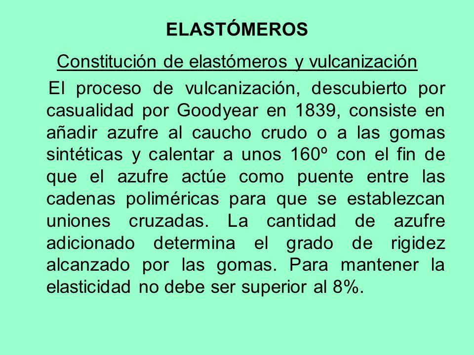 Constitución de elastómeros y vulcanización