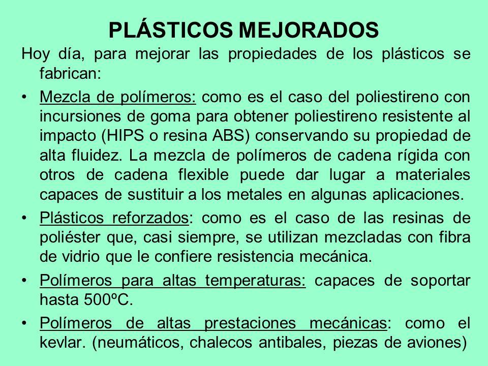 PLÁSTICOS MEJORADOS Hoy día, para mejorar las propiedades de los plásticos se fabrican: