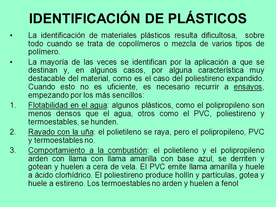 IDENTIFICACIÓN DE PLÁSTICOS