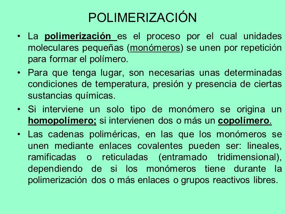 POLIMERIZACIÓN La polimerización es el proceso por el cual unidades moleculares pequeñas (monómeros) se unen por repetición para formar el polímero.