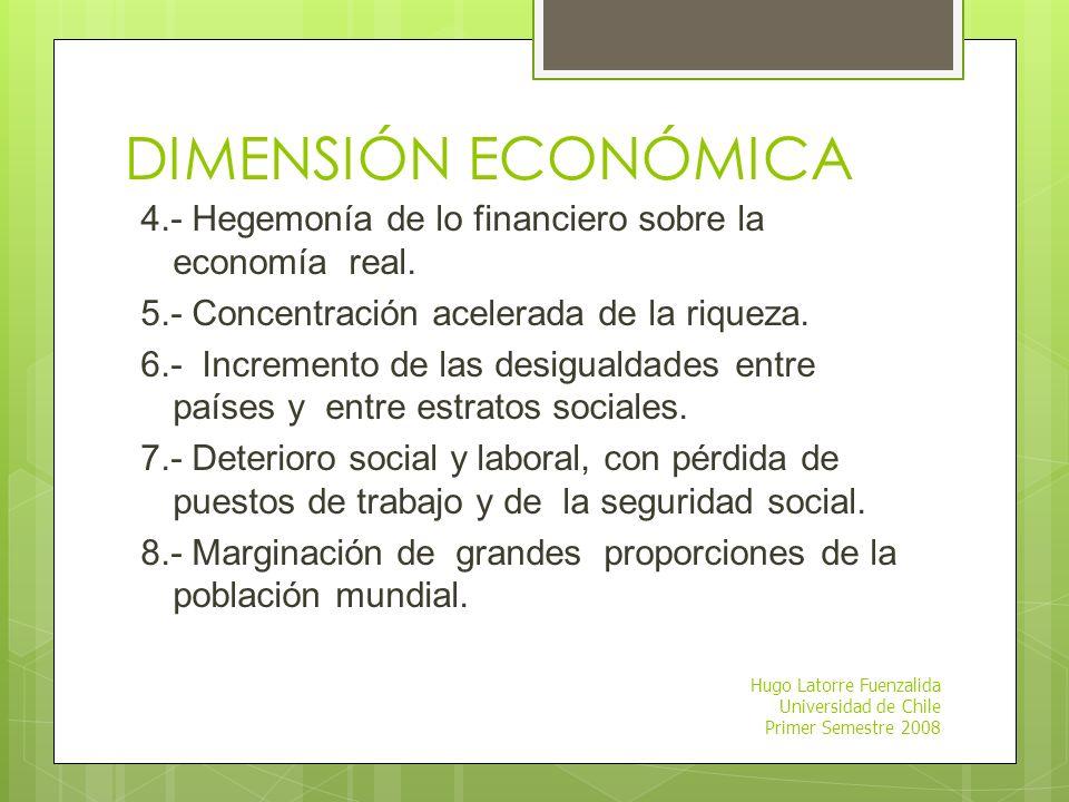 DIMENSIÓN ECONÓMICA 4.- Hegemonía de lo financiero sobre la economía real. 5.- Concentración acelerada de la riqueza.