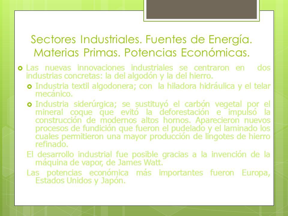 Sectores Industriales. Fuentes de Energía. Materias Primas