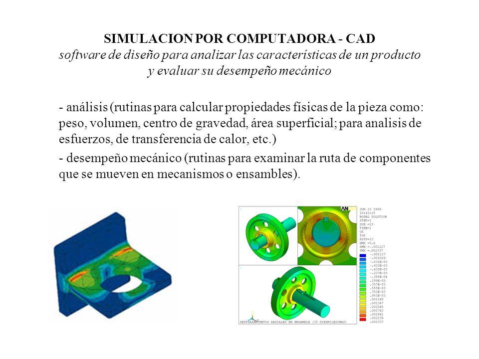 SIMULACION POR COMPUTADORA - CAD software de diseño para analizar las características de un producto y evaluar su desempeño mecánico