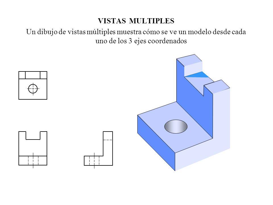 VISTAS MULTIPLES Un dibujo de vistas múltiples muestra cómo se ve un modelo desde cada uno de los 3 ejes coordenados.