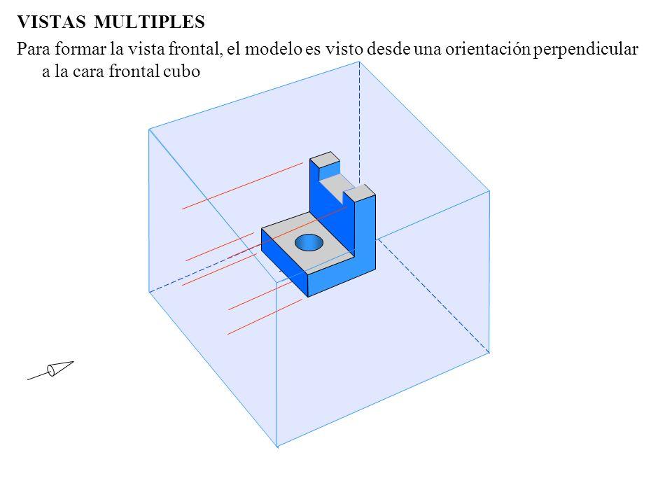 VISTAS MULTIPLES Para formar la vista frontal, el modelo es visto desde una orientación perpendicular a la cara frontal cubo.