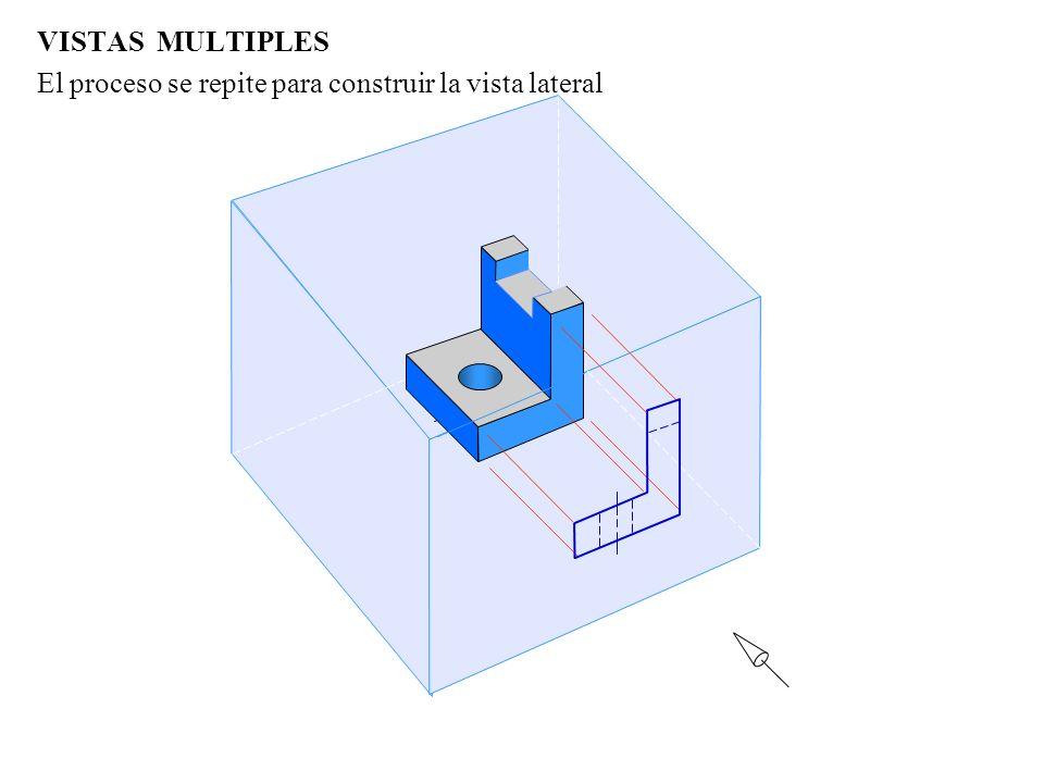 VISTAS MULTIPLES El proceso se repite para construir la vista lateral