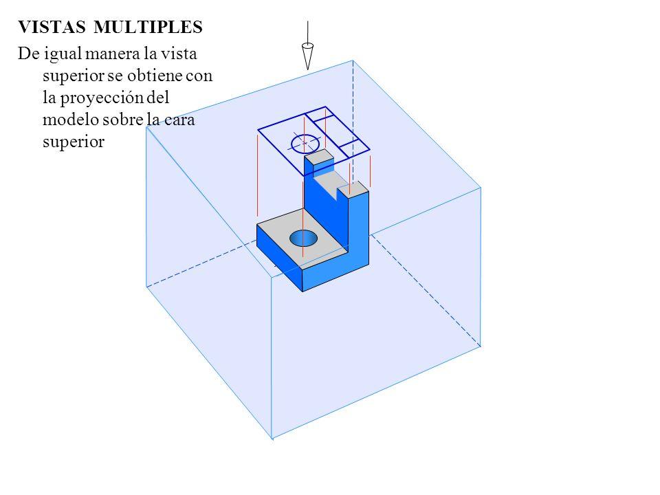 VISTAS MULTIPLES De igual manera la vista superior se obtiene con la proyección del modelo sobre la cara superior.