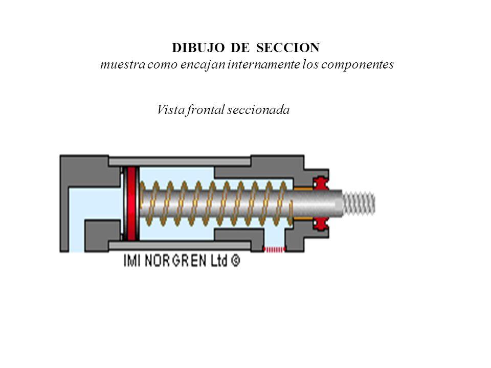 DIBUJO DE SECCION muestra como encajan internamente los componentes