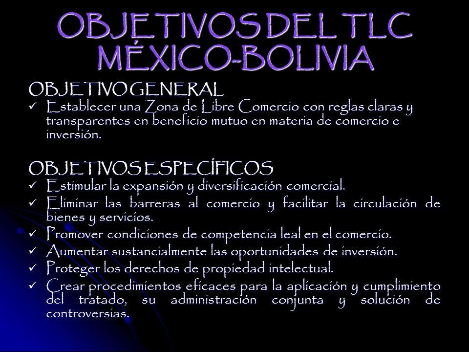 OBJETIVOS DEL TLC MÉXICO-BOLIVIA