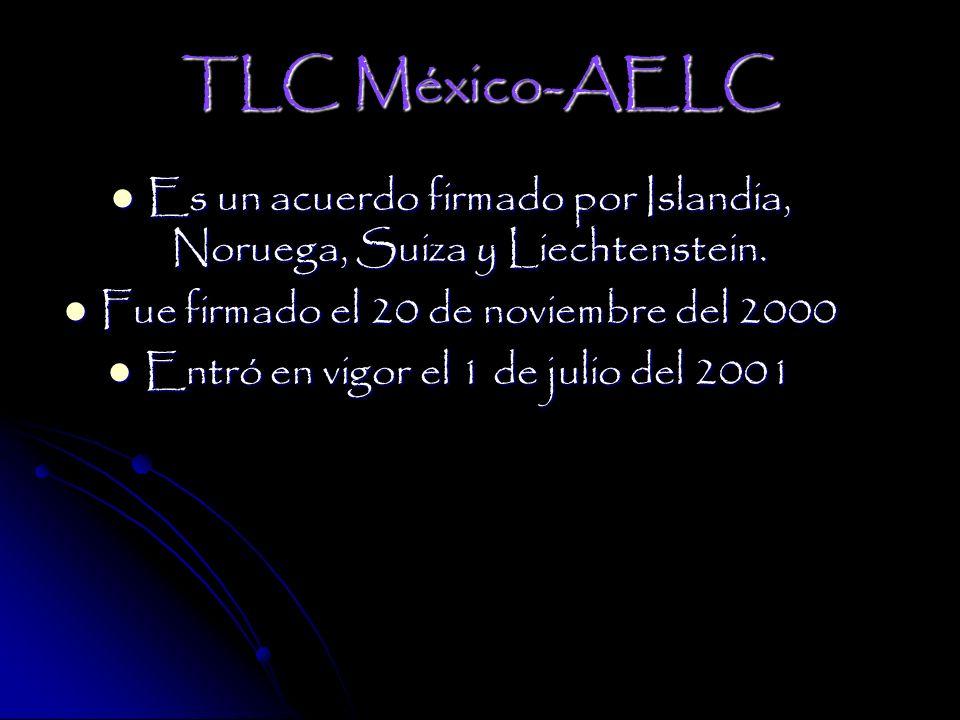 TLC México-AELC Es un acuerdo firmado por Islandia, Noruega, Suiza y Liechtenstein. Fue firmado el 20 de noviembre del 2000.