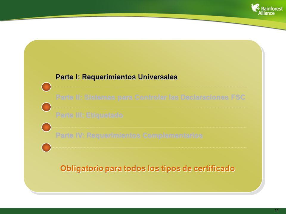 Obligatorio para todos los tipos de certificado
