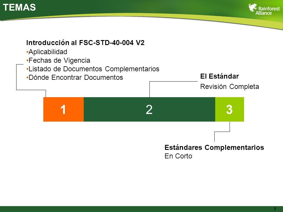 1 2 3 TEMAS Introducción al FSC-STD-40-004 V2 Aplicabilidad