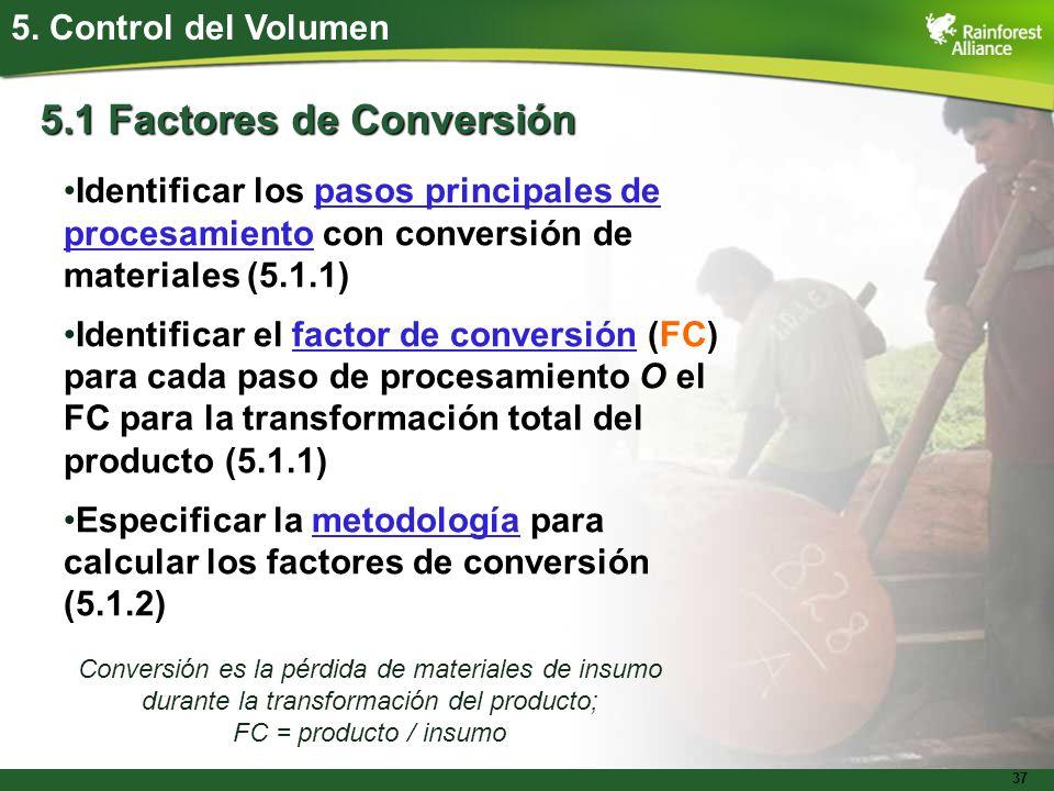 5.1 Factores de Conversión