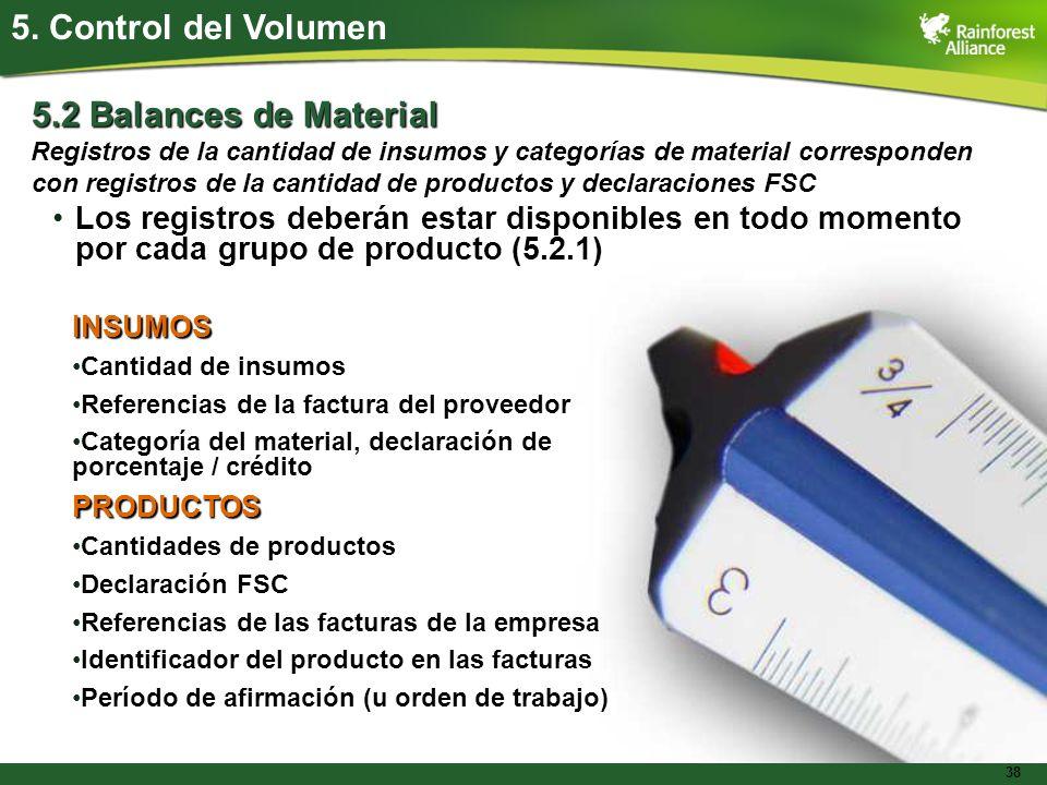 5. Control del Volumen 5.2 Balances de Material