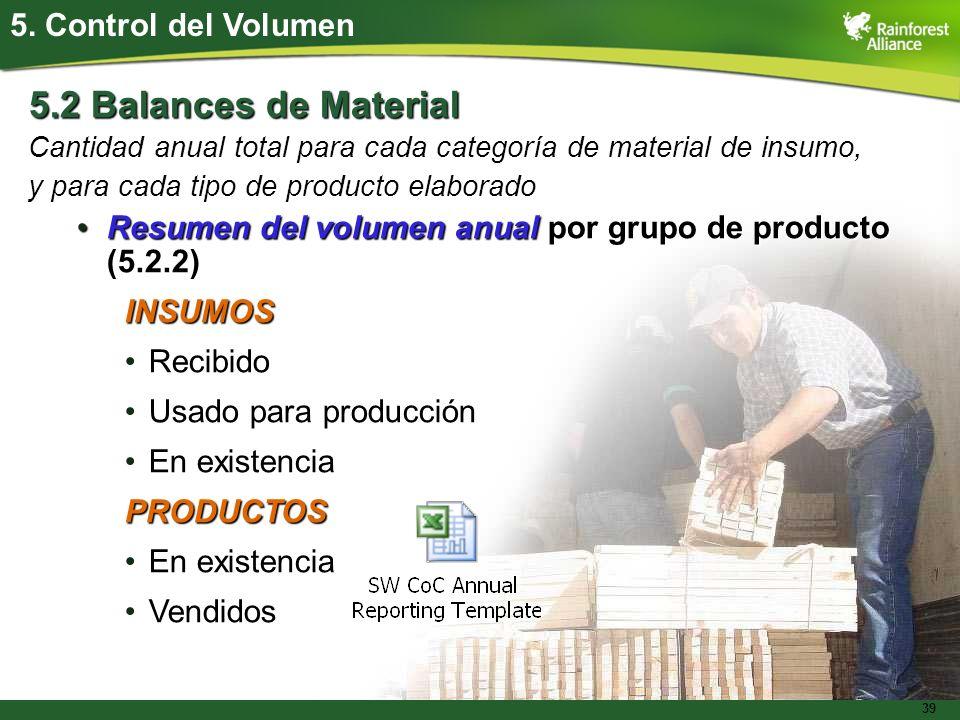 5.2 Balances de Material 5. Control del Volumen