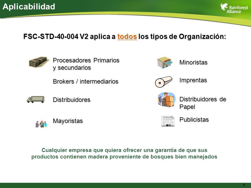 Aplicabilidad FSC-STD-40-004 V2 aplica a todos los tipos de Organización: Procesadores Primarios. y secundarios.