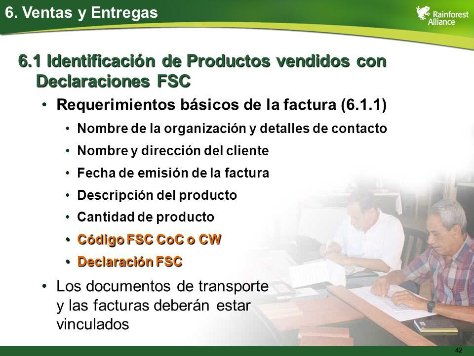 6.1 Identificación de Productos vendidos con Declaraciones FSC