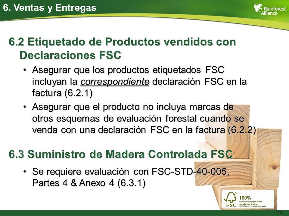 6.2 Etiquetado de Productos vendidos con Declaraciones FSC