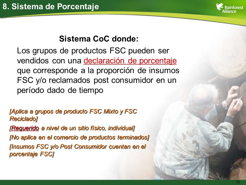 8. Sistema de Porcentaje Sistema CoC donde: