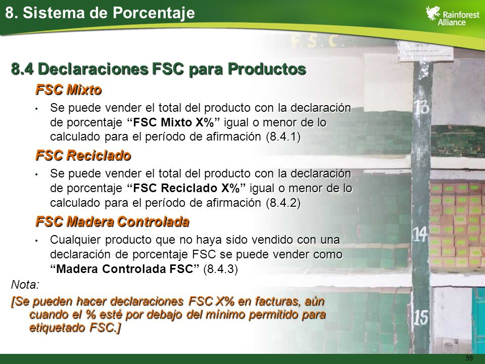 8.4 Declaraciones FSC para Productos