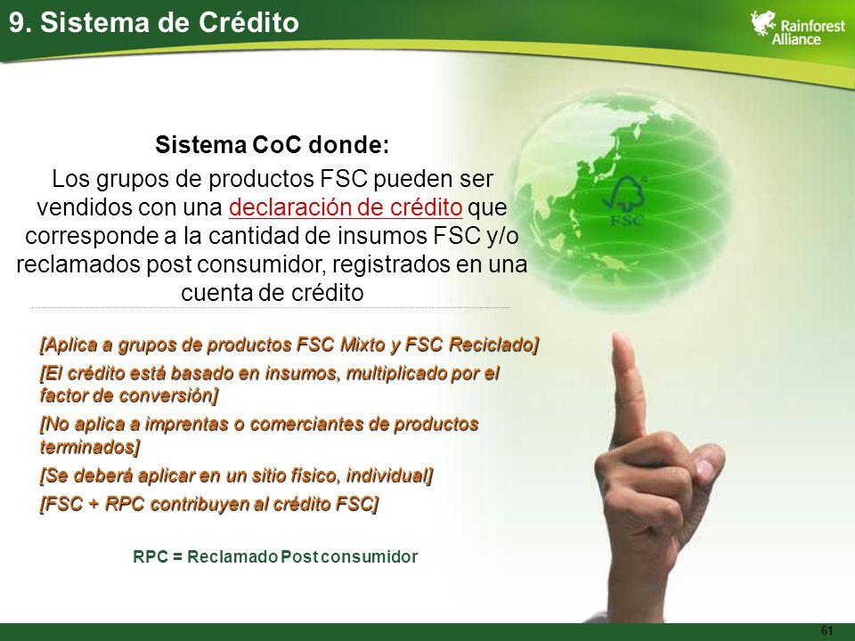 9. Sistema de Crédito Sistema CoC donde: