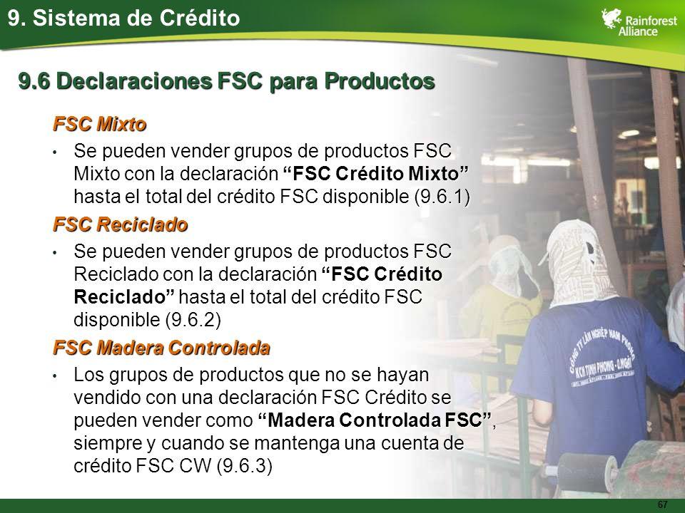 9.6 Declaraciones FSC para Productos