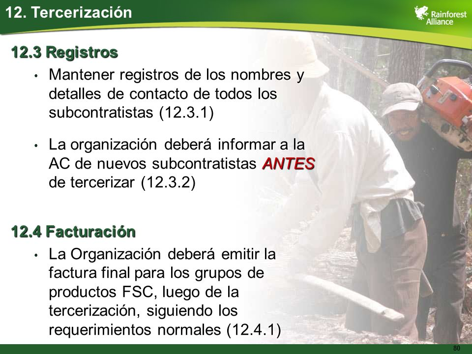 12. Tercerización 12.3 Registros