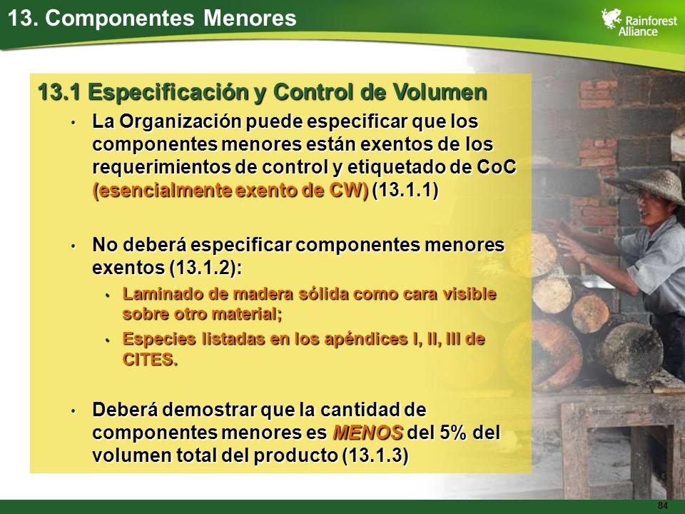 13.1 Especificación y Control de Volumen