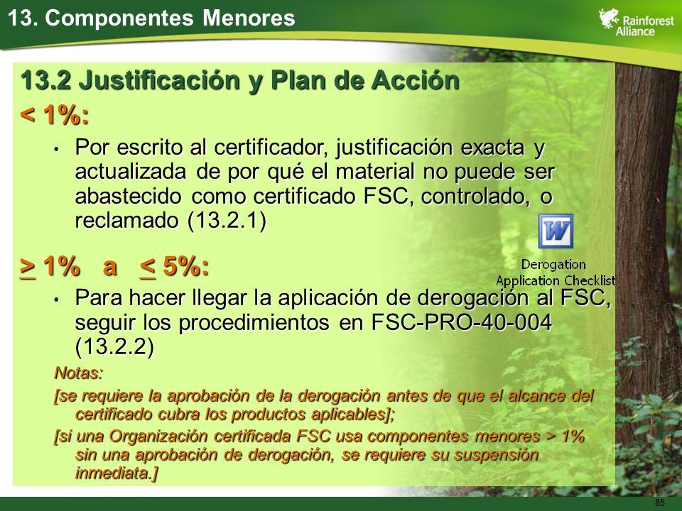 13.2 Justificación y Plan de Acción < 1%: