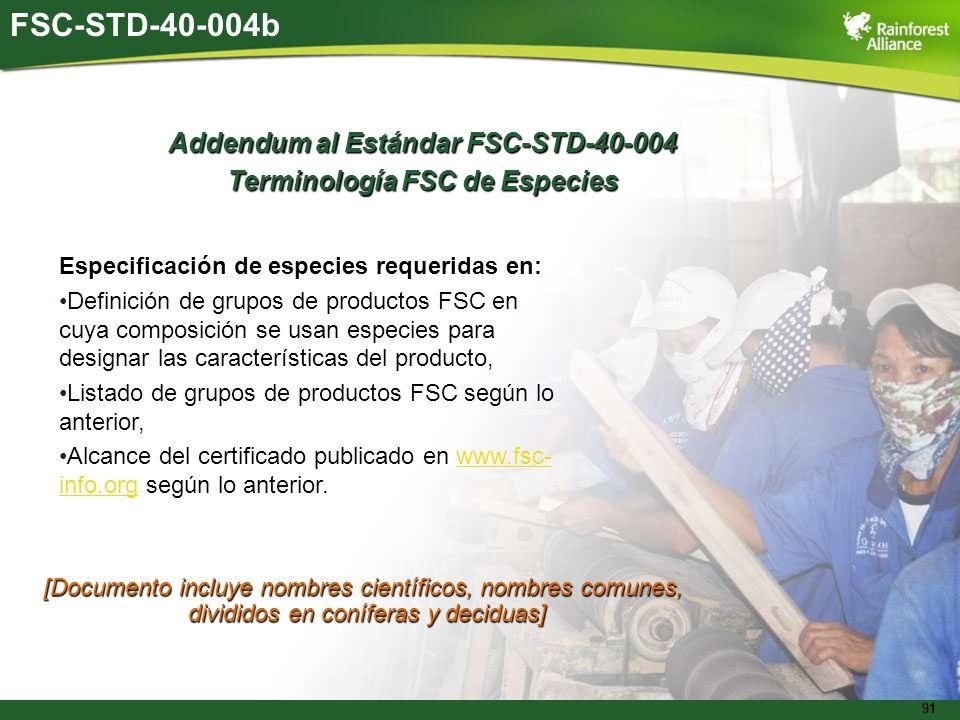 Addendum al Estándar FSC-STD-40-004 Terminología FSC de Especies