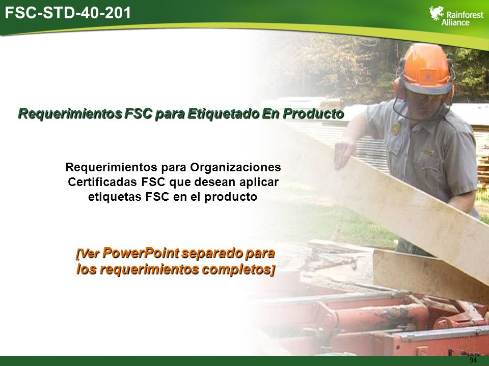 FSC-STD-40-201 Requerimientos FSC para Etiquetado En Producto
