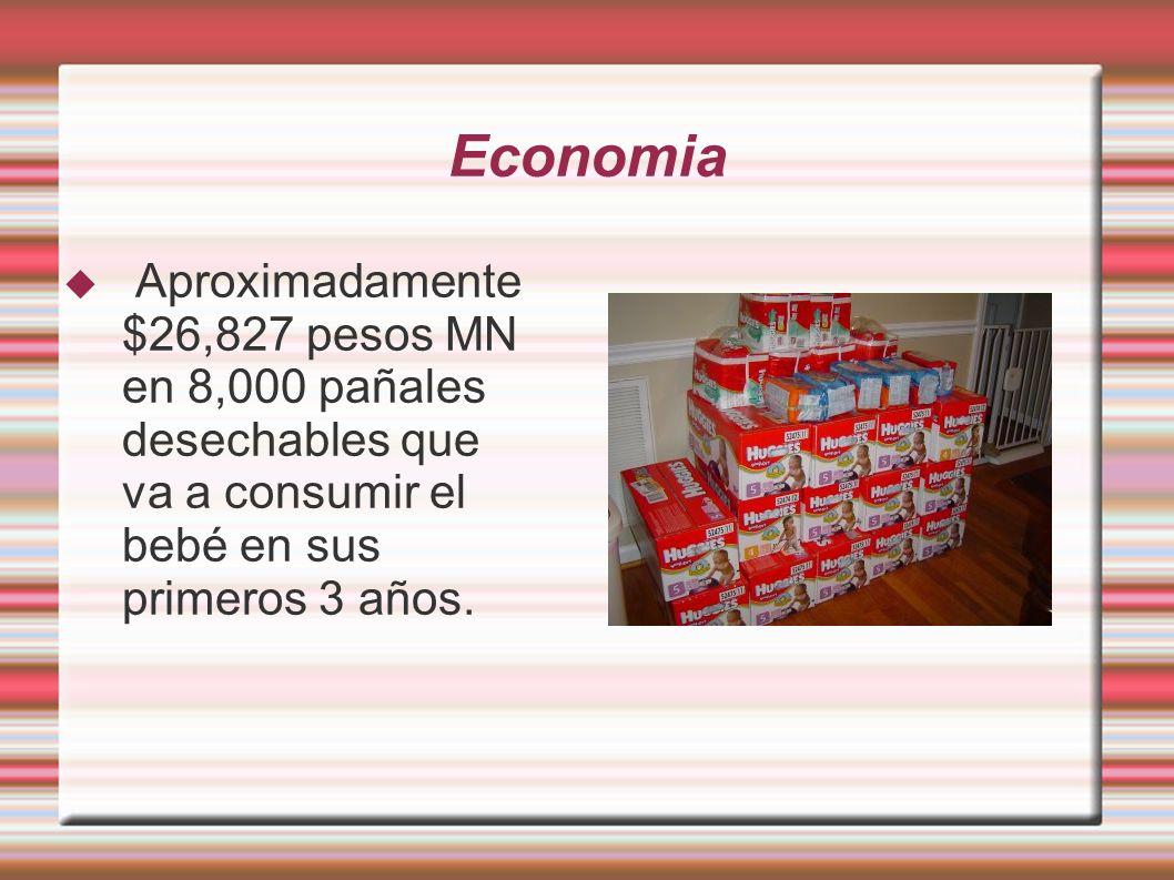 Economia Aproximadamente $26,827 pesos MN en 8,000 pañales desechables que va a consumir el bebé en sus primeros 3 años.