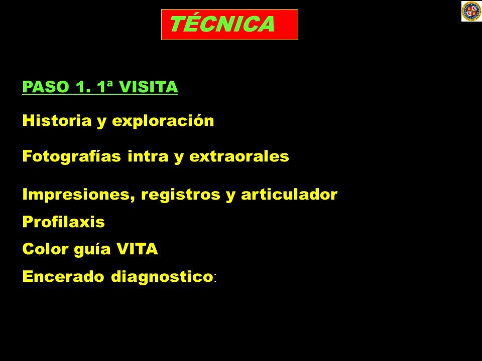 TÉCNICA PASO 1. 1ª VISITA Historia y exploración