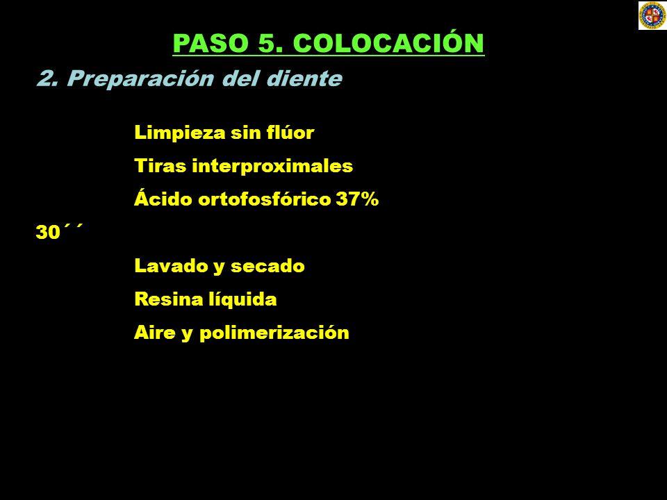 PASO 5. COLOCACIÓN 2. Preparación del diente Limpieza sin flúor