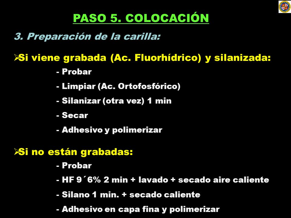 PASO 5. COLOCACIÓN 3. Preparación de la carilla: