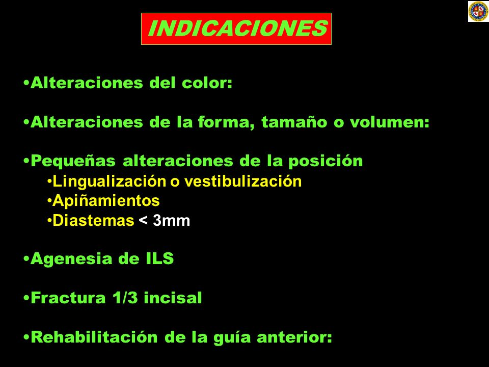 INDICACIONES Alteraciones del color: