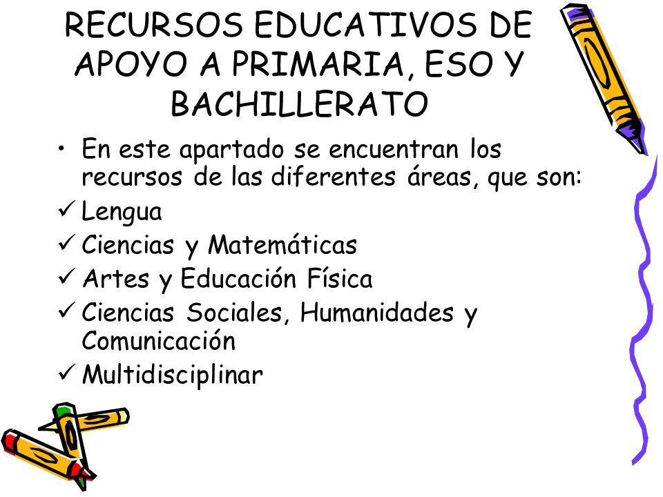 RECURSOS EDUCATIVOS DE APOYO A PRIMARIA, ESO Y BACHILLERATO