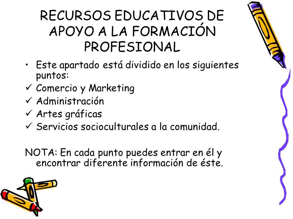 RECURSOS EDUCATIVOS DE APOYO A LA FORMACIÓN PROFESIONAL