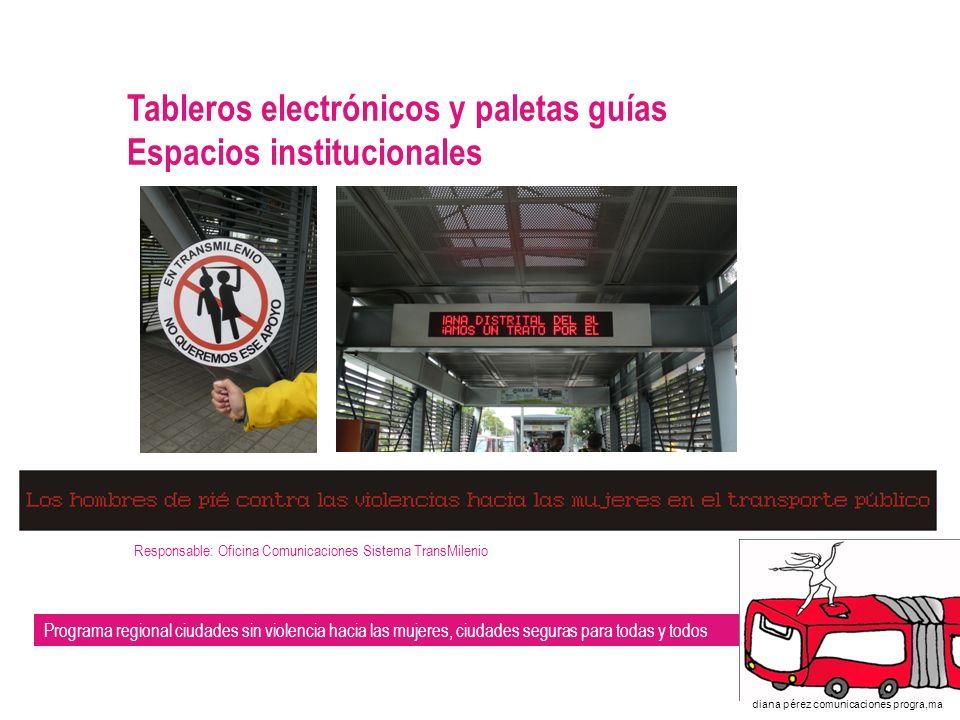 Tableros electrónicos y paletas guías Espacios institucionales