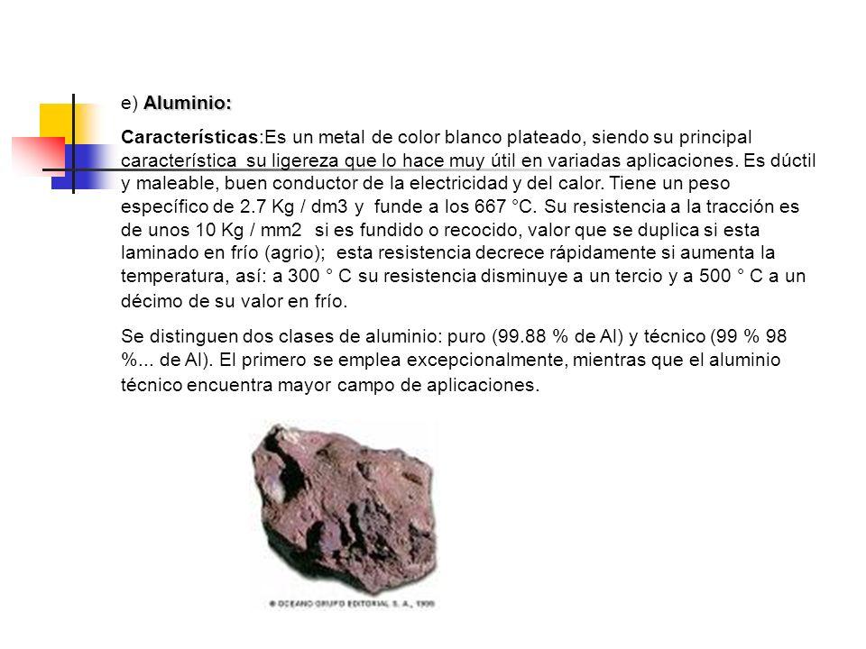 e) Aluminio:
