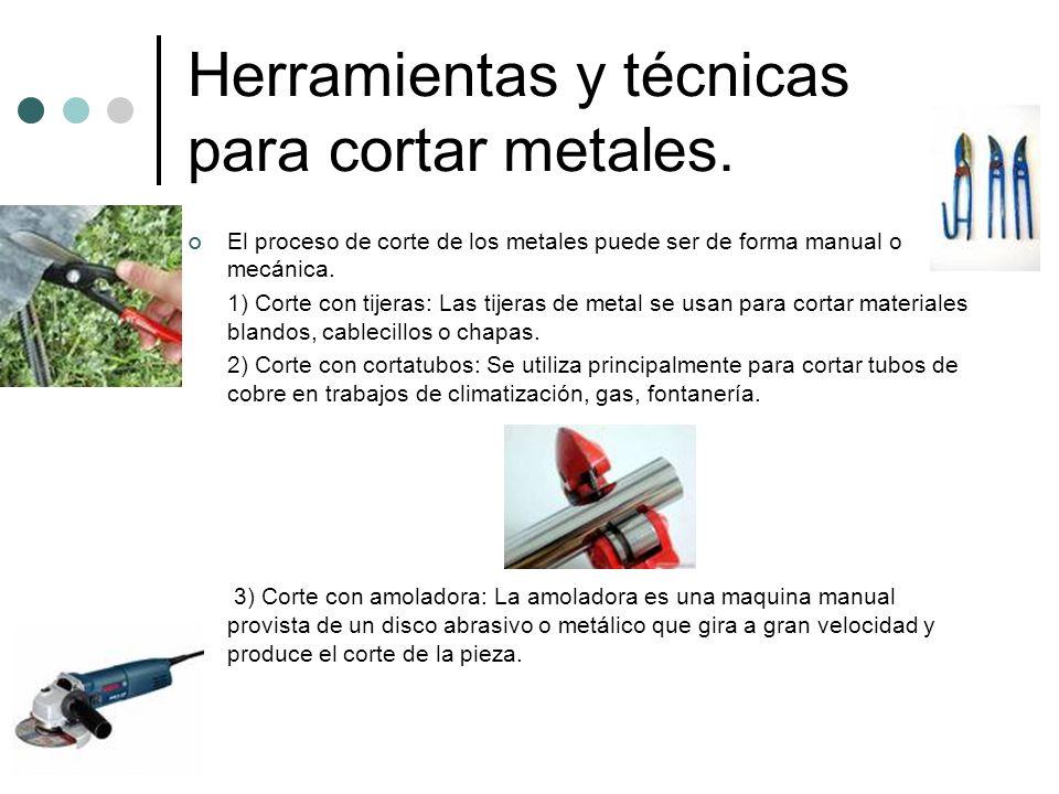 Herramientas y técnicas para cortar metales.