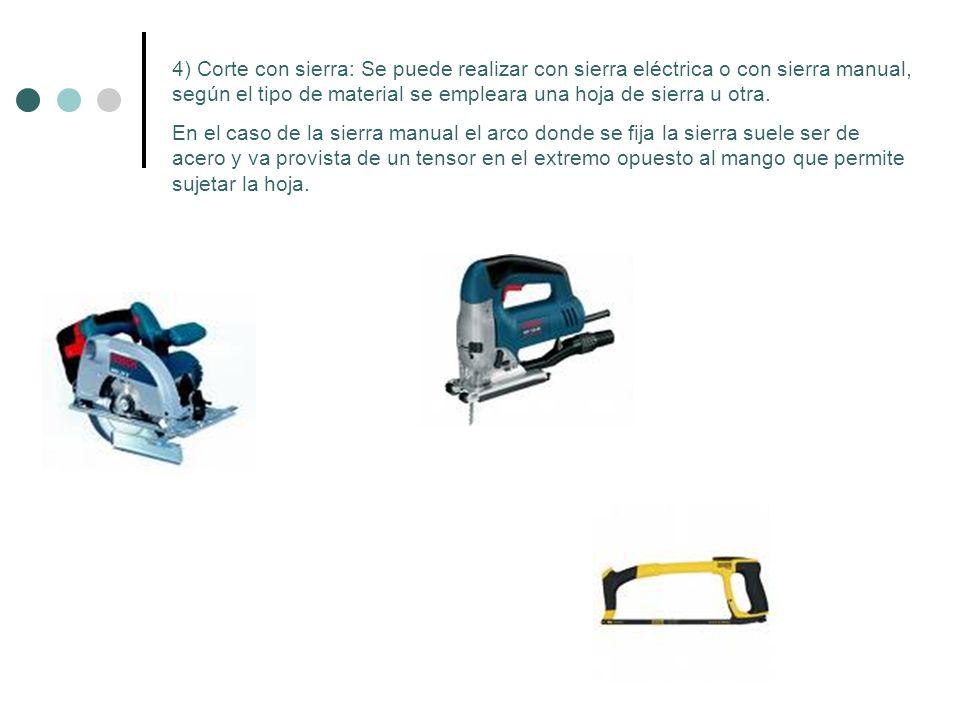 4) Corte con sierra: Se puede realizar con sierra eléctrica o con sierra manual, según el tipo de material se empleara una hoja de sierra u otra.