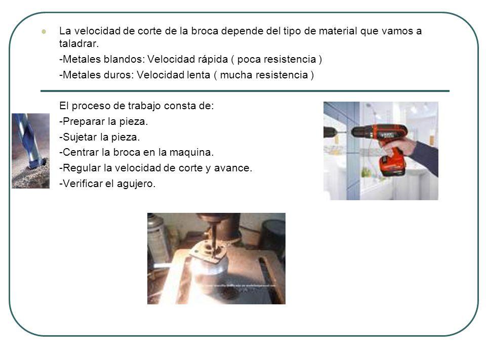 La velocidad de corte de la broca depende del tipo de material que vamos a taladrar.