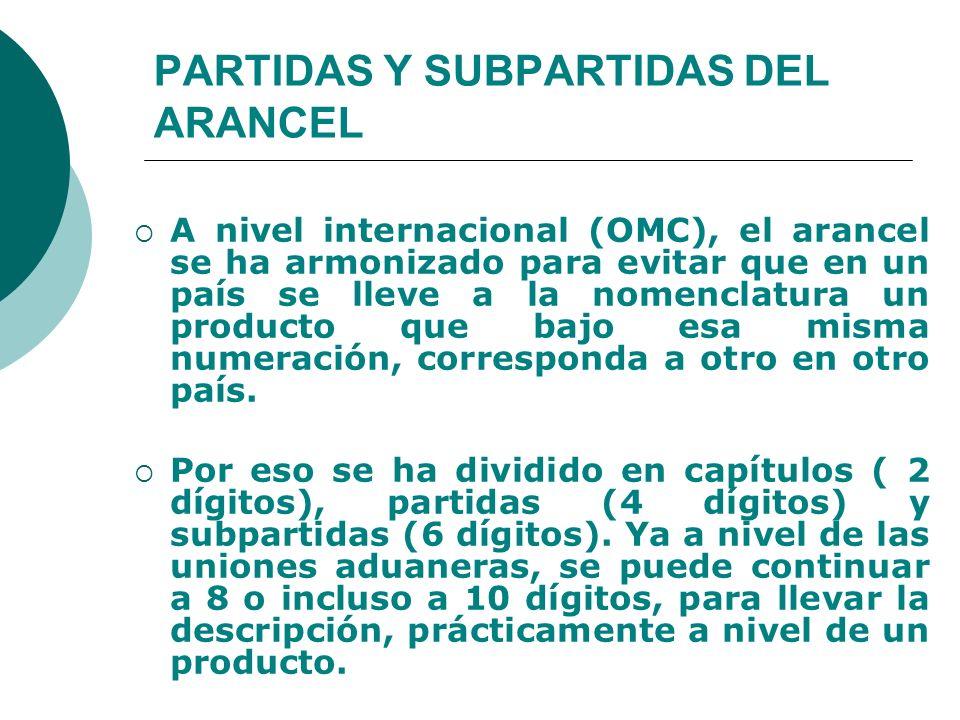 PARTIDAS Y SUBPARTIDAS DEL ARANCEL