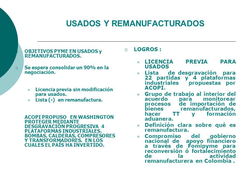 USADOS Y REMANUFACTURADOS