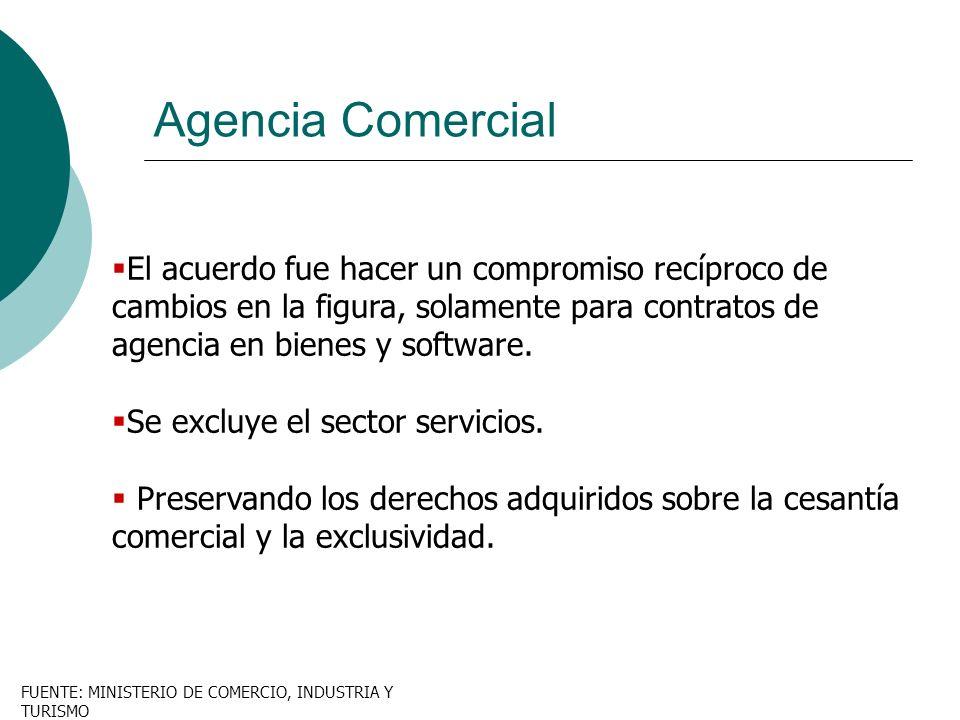 Agencia Comercial El acuerdo fue hacer un compromiso recíproco de cambios en la figura, solamente para contratos de agencia en bienes y software.