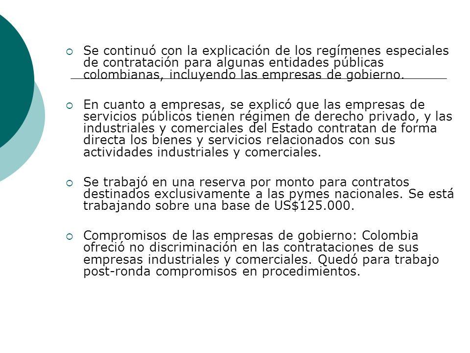 Se continuó con la explicación de los regímenes especiales de contratación para algunas entidades públicas colombianas, incluyendo las empresas de gobierno.