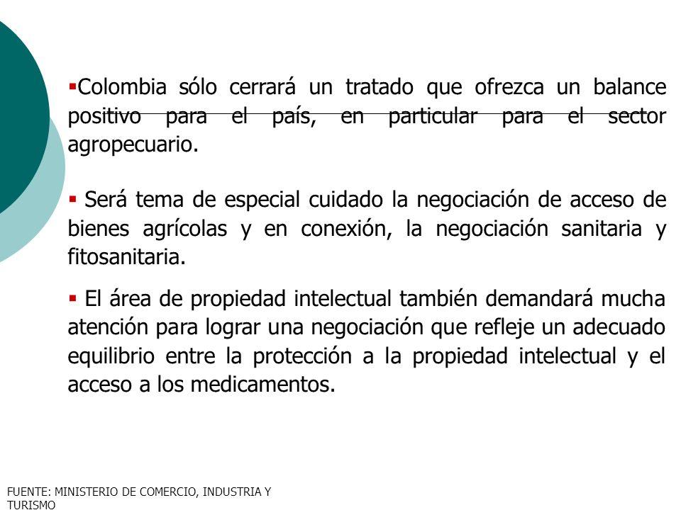 Colombia sólo cerrará un tratado que ofrezca un balance positivo para el país, en particular para el sector agropecuario.