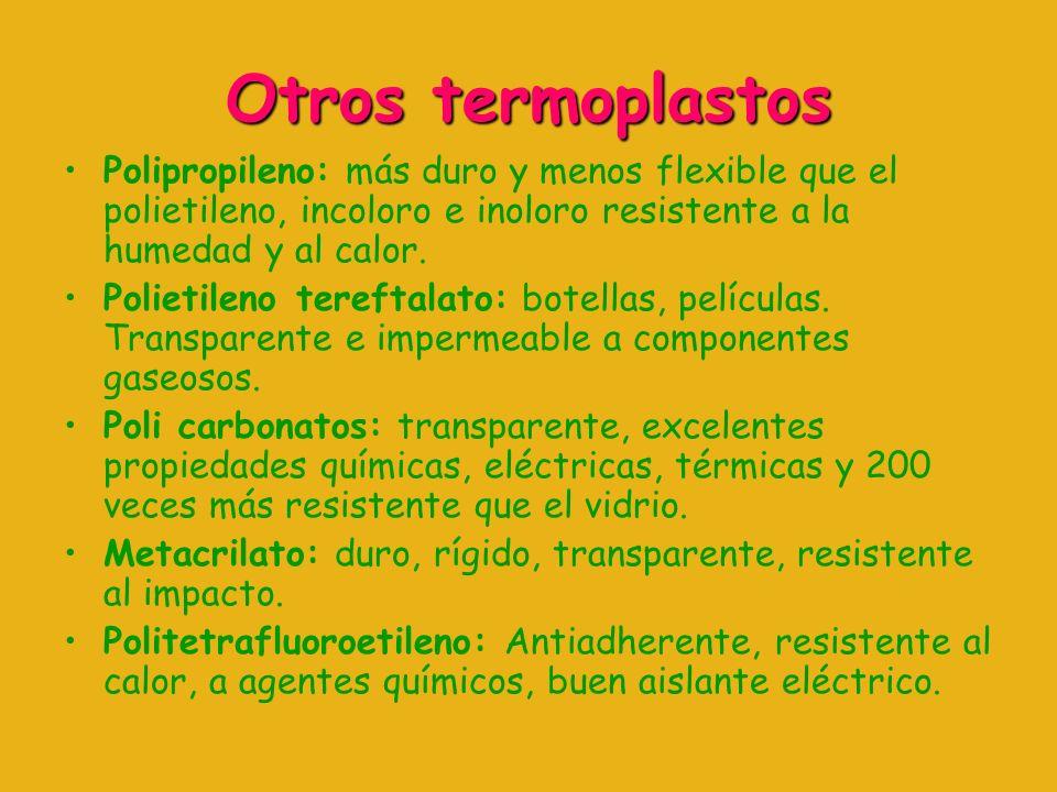 Otros termoplastos Polipropileno: más duro y menos flexible que el polietileno, incoloro e inoloro resistente a la humedad y al calor.